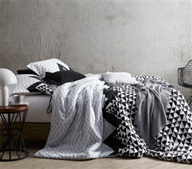 Chevron Peaks College Comforter Black, White, and Gray Twin XL Bedding