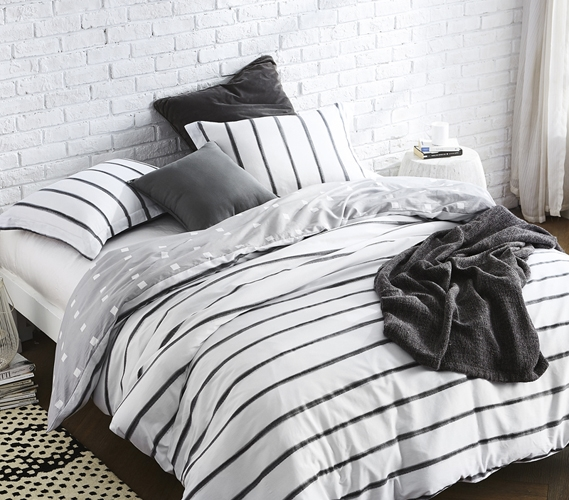 Striped Design Black Ink Twin Extra Long Duvet Cover Black And White College Dorm Bedding