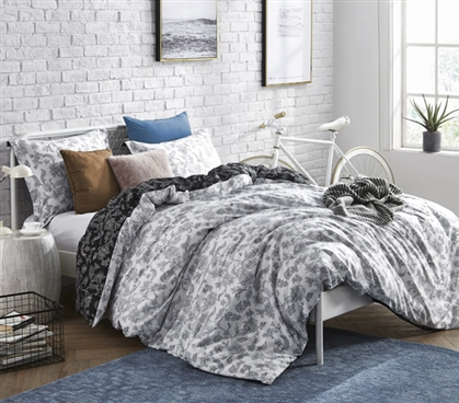 Unique Dorm Bedding White and Black Twin XL Duvet Cover Intricate Moxie Vines Design