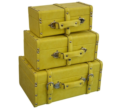 College-Ave Mini-Trunks (Set of 3) - Yellow Dorm Essentials Dorm Room Decorations