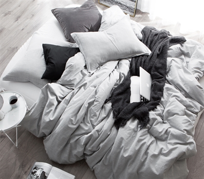 Natural Loft Gray Dorm Bedding Twin Extra Long Duvet Cover