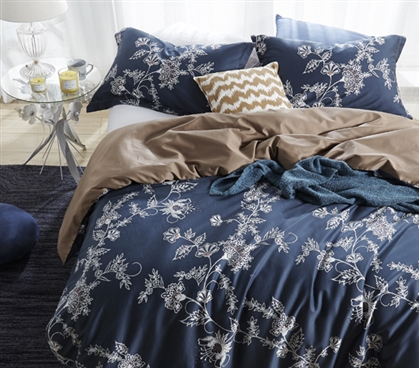 Navy Twin XL Duvet Cover Moxie Vines Essential College Bedding and Dorm Decor