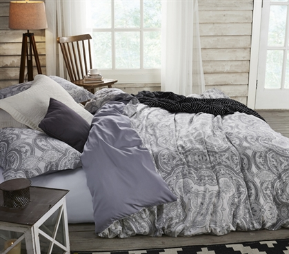 Gray Extra Long Twin Bedding Bliss Intricate Design Twin XL Duvet Cover