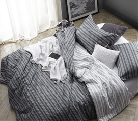 Extra Long Twin Comforter Unique Dorm Room Bedding Faded Black Stripes Design