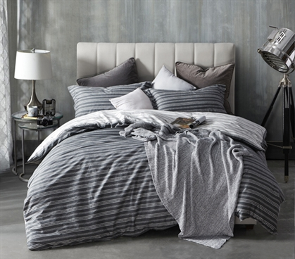 Essential Twin XL Bedding Faded Black Faded Stripes Design Twin XL Duvet Cover