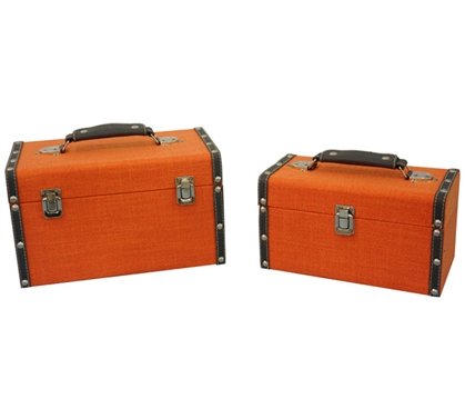 Bright Orange Texture Mini-Trunks (Set of 2) - Block Style Dorm Trunks Storage Trunks
