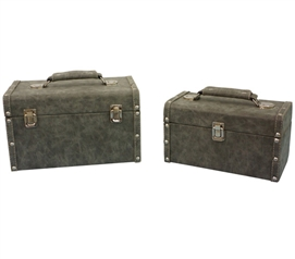 Distressed Gray Texture Mini-Trunks (Set of 2) - Block Style Dorm Essentials Dorm Room Storage