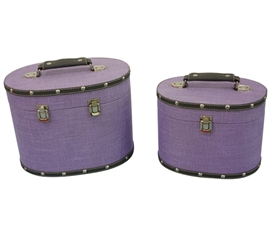 Dark Lavender Texture Mini-Trunks (Set of 2) - Rounded Style Dorm Trunks Dorm Essentials Dorm Room Decor