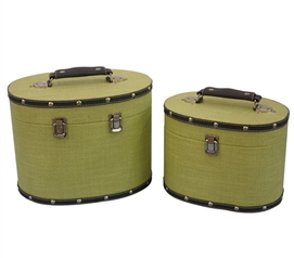 Mustard Yellow Texture Mini-Trunks (Set of 2) - Rounded Style Dorm Essentials Dorm Trunks