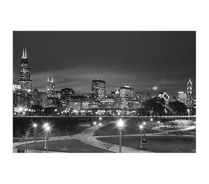 Shop For College - Chicago Black and White Poster - Adds Decor For Dorms
