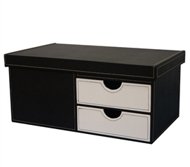 Black & White Series College-Ave - Side Drawers White Storage Trunk Dorm Room Decor