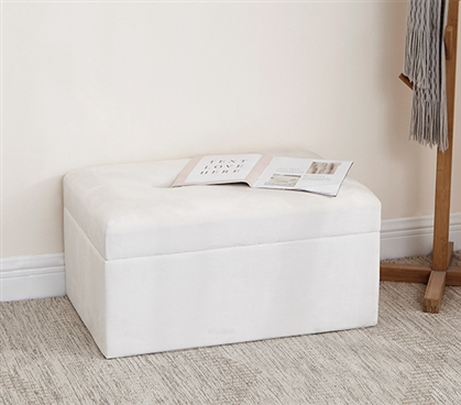 Central Style Cushion Seater Trunk - Cream White with Buttons