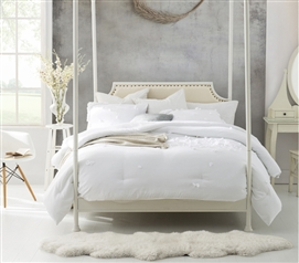 White College Bedding Decor Beautiful Extra Long Twin Comforter with Handsewn Petals Design