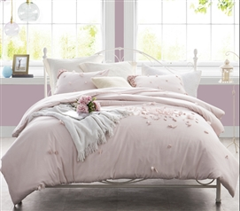 Pretty Soft Ice Pink Petals Handsewn College Duvet Cover Essential Stylish Extra Long Twin Bedding