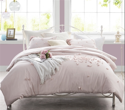 Petals Handsewn Twin XL Duvet Cover - Soft Ice Pink