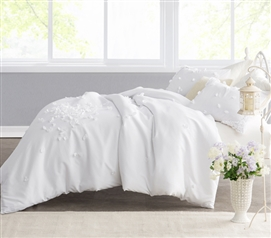 Unique Twin Extra Long Duvet Cover White Petals Handsewn Beautiful Stylish Dorm Room Bedding
