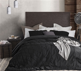 Comfortable Dorm Room Bedding Stylish Twist Texture Black Twin Extra Long Comforter