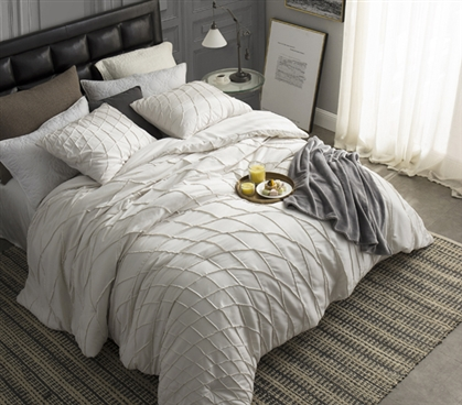 Off White Twin Extra Long Comforter Twist Texture Jet Stream College Dorm Bedding Essentials