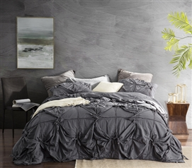High Quality Dorm Bedding Handcrafted Texture Ties Dark Gray Twin Extra Long Comforter