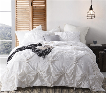 Knots - Handcrafted Texture Ties Twin XL Comforter - White