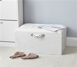 Central Style Cushion Seater Trunk - Cream White with Handle