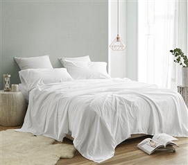 White College Bedding Sheet Set Saudade Twin XL Bedding Made in Portugal with High Quality 200TC Cotton Percale