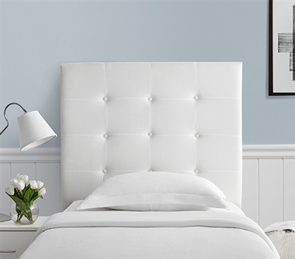 Stylish White Villa Classic College Headboard Tufted Plush Twin XL Dorm Bedding Decor
