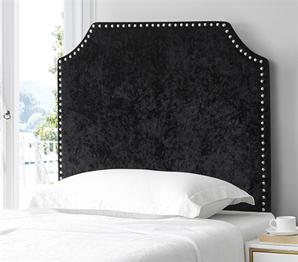 Bevel Tacked Plush Headboard - Velvet Crush Black