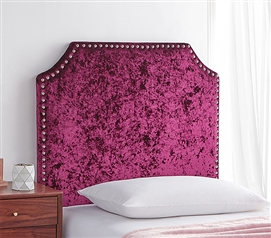 Bevel Tacked Plush Headboard - Velvet Crush Burgundy