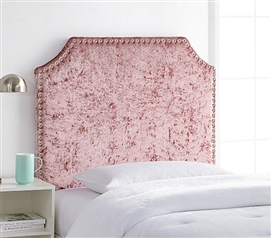 Champagne Pink Elegant Velvet Plush Dorm Headboard Bevel Shape for Extra Long Twin Sized Bed