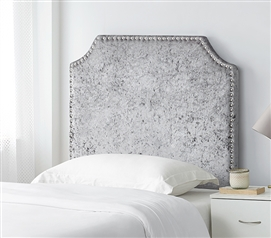 Gray College Headboard for Dorm Room Velvet Crush Soft Plush Twin XL Headboard with Bevel Tacked Border