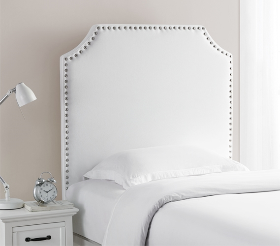 High Quality Twin Xl Headboard Bevel Tacked Plush White Dorm Headboard For Extra Long Twin Bed