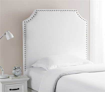 Dorm Headboard for Twin XL Bed Plush White XL Twin Headboard with Bevel Tacked Nailhead Trim Design