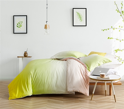 Beautiful Dorm Bedding Decor Extra Long Twin Duvet Cover Bright Ombre Sunshine Yellow