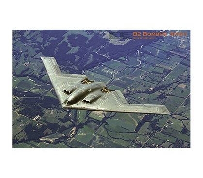 B2 Bomber Spirit Poster- Airforce inspired poster bomper plane flying over states