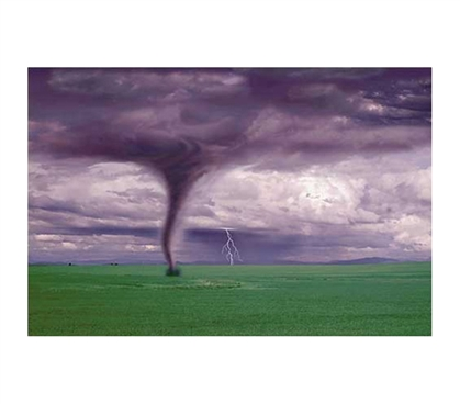 Mesmerizing College Room Tornado & Lightning on Field Poster