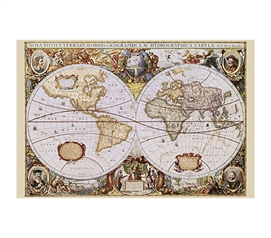 Antique Orbis World Geographica Poster