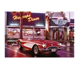 Corvette 1958 at Diner Poster dorm room decorative poster for walls