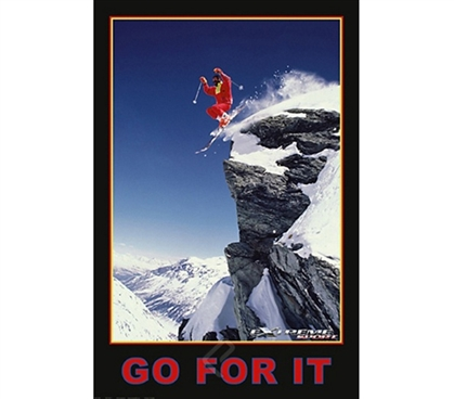 Go For It Skiing Poster inspirational dorm room wall decorating poster ideas