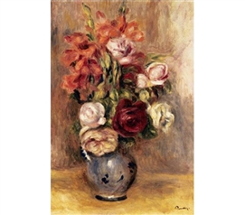 Vase of Gladiolas and Roses - college dorm Renoir Poster painting of roses in vase pretty and colorful great for dorm wall