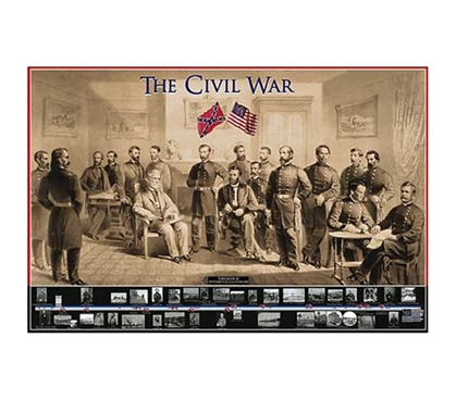 The Civil War college dorm Poster dorm room decor idea features scene of a meeting between sides