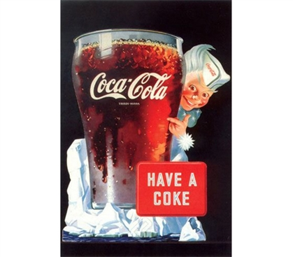 Coca-Cola - Have a Coke Poster- Beverage category showing ice cold glass of coke in college dorm poster