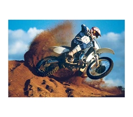 Exciting Wall Decoration of Motorcross Dirtbike Ripping Through Turn - College Poster Essential that Students want.