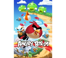 Angry Birds Attack -  Red Bird Flying Throug The Air Colorful College Dorm Poster
