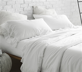 Soft Stone Washed Cotton Sateen 300TC Dorm Sheet Set White Violeta Folho Portugal Made Twin XL Luxury Bedding