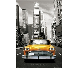 Stylish Black, White and Yellow NY Taxi No 1 Poster