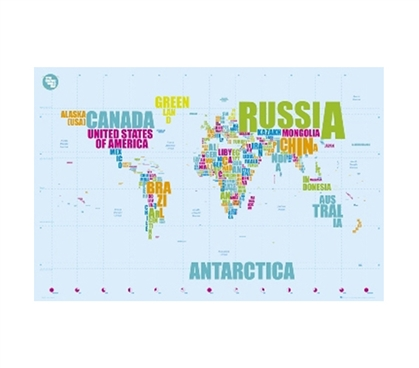 Decorate Your Dorm Room - World Map In Words Poster - Fun Supply For College