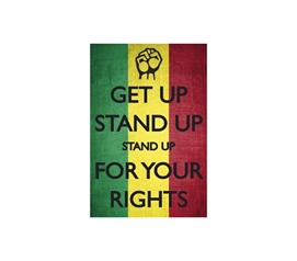 "Green, Yellow, Red - Bob Marley ""Stand Up For Your Rights"" Wall Decor"