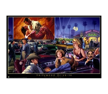 Vintage Artwork - Hollywood Drive In Poster (George Bungarda artwork)
