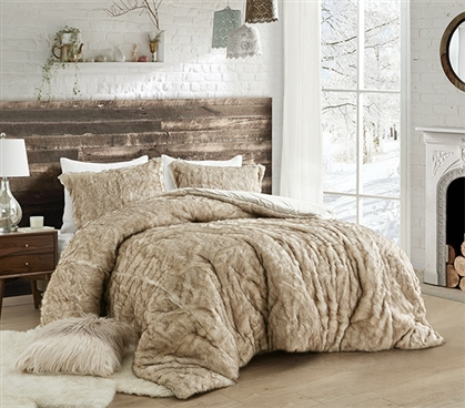 Faux Fur College Comforter with Matching Standard Size Dorm Pillow Sham Coma Inducer® Arctic Bear Tundra Brown
